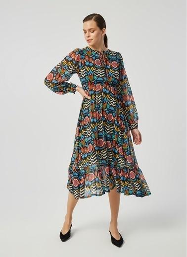 Monamoda Renkli Geometrik Desen Maxi Şifon Elbise Mavi
